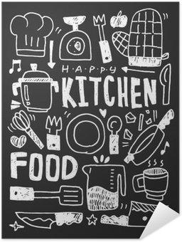 Póster Autoadesivo Cozinha elementos doodles mão linha traçada ícone, eps10