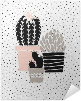 Póster Autoadesivo Desenhado Mão Poster Cactus