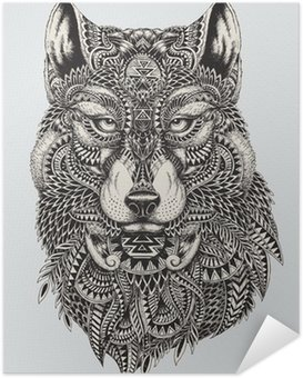 Póster Autoadesivo Highly detailed abstract wolf illustration