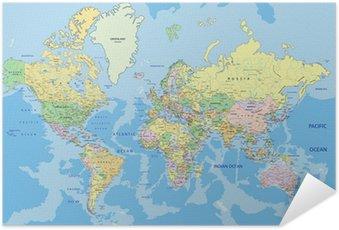 Póster Autoadesivo Mapa do mundo político altamente detalhado com rotulagem.