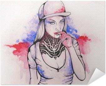 Póster Autoadesivo Menina em um tampão e tatuagens