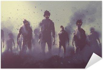 Póster Autoadesivo Multidão de zumbis andando à noite, conceito de Halloween, pintura ilustração