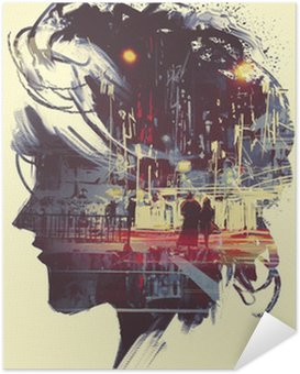 Póster Autoadesivo painting of double exposure concept with lady portrait silhouette and couple walking in night city