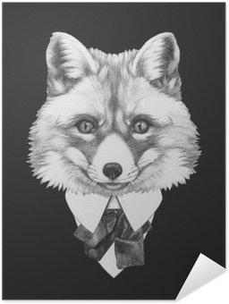 Póster Autoadesivo Retrato do Fox no terno. Ilustração tirada mão.