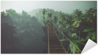 Póster Autoadesivo Rope bridge in misty jungle with palms. Backlit.