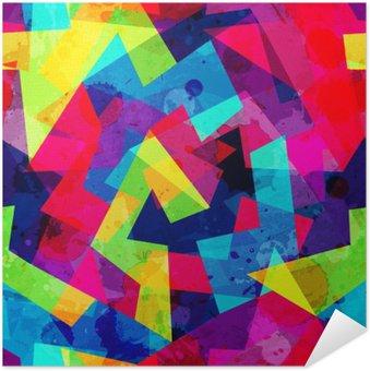 Póster Autoadesivo Teste padrão sem emenda geométrico brilhante com efeito do grunge