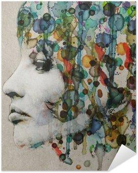 Póster Autoadesivo Watercolor female profile