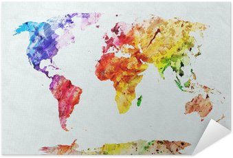 Póster Autoadesivo Watercolor world map