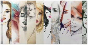 Póster Beautiful woman face. watercolor illustration