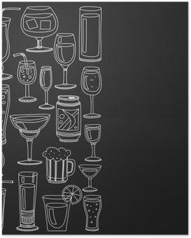 Póster Bebidas alcoólicas e cocktails jogo do ícone