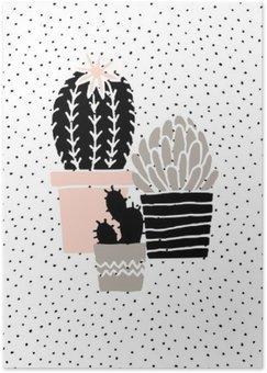 Póster Desenhado Mão Poster Cactus