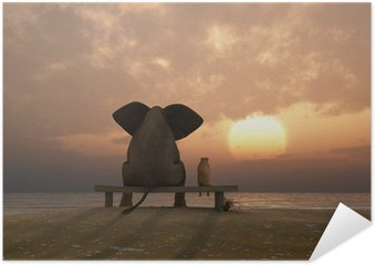 Pôster elephant and dog sit on a summer beach