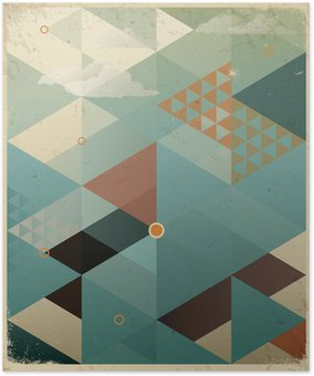 Póster em HD Abstract Retro Geometric Background with clouds