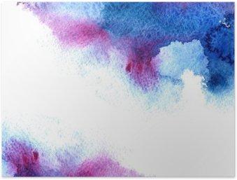 Póster em HD Abstrato azul e violeta aguado frame.Aquatic backdrop.Hand desenhado da aguarela respingo stain.Cerulean.