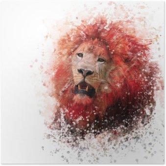 Póster em HD Aguarela Cabeça do leão