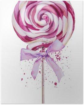 Póster em HD Aguarela Lollipop doce