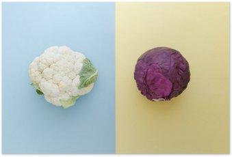 Póster em HD Couve-flor e repolho vermelho em um fundo cor brilhante. legumes da estação estilo minimalista. Alimentos em estilo minimalista.