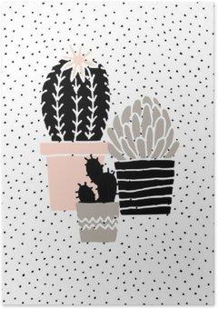 Póster em HD Desenhado Mão Poster Cactus