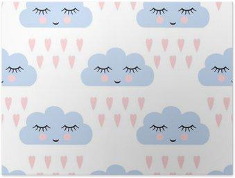 Póster em HD Nuvens padrão. Seamless com sorriso nuvens sono e os corações para as férias dos miúdos. Fundo do vetor do chá de bebê bonito. nuvens de chuva criança estilo de desenho em ilustração vetorial.