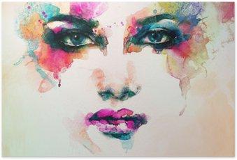 Póster em HD Retrato da mulher. aquarela abstrata. fundo moda