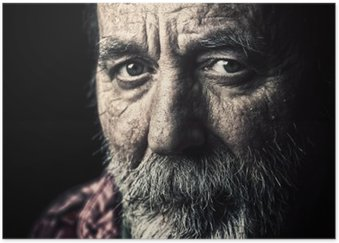 Póster em HD Retrato do homem sênior desabrigados muito antiga