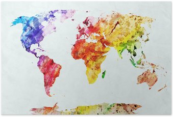 Póster em HD Watercolor world map