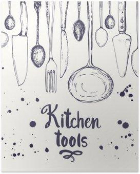 Póster Fundo sem emenda com utensílios de cozinha. Teste padrão do menu.
