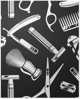 Póster Fundo sem emenda do teste padrão com ferramentas de barbeiro do vintage