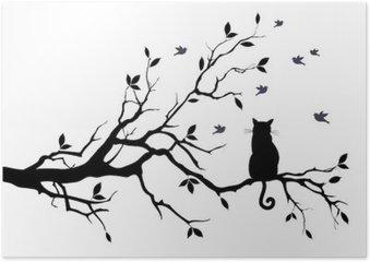 Póster Gato em uma árvore com pássaros, vetor