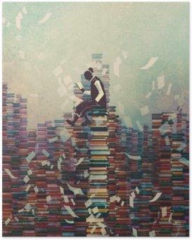 Póster Homem lendo o livro ao sentar-se na pilha dos livros, conceito conhecimento, pintura ilustração