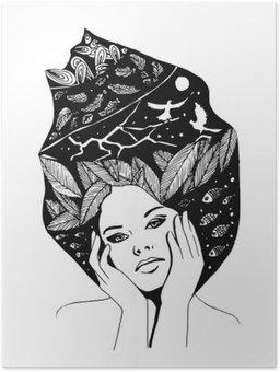 Póster __illustration, retrato em preto-e-branco gráfico da mulher