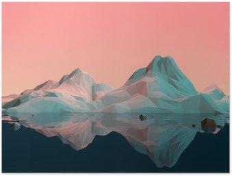Póster Low-Poly paisagem da montanha 3D com Água e Reflexão