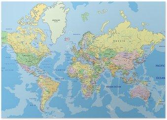 Póster Mapa do mundo político altamente detalhado com rotulagem.