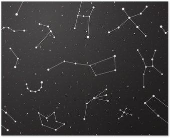 Póster Noite estrelado, teste padrão sem emenda, fundo com estrelas e constelações, ilustração vetorial