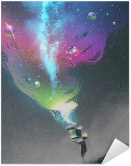 Pôster Pixerstick A abertura de uma caixa de fantasia com luz colorida e espaço fantástico, ilustração pintura kid