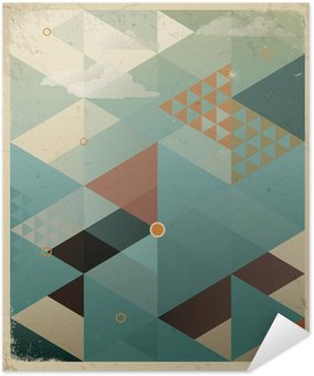 Pôster Pixerstick Abstract Retro Geometric Background with clouds