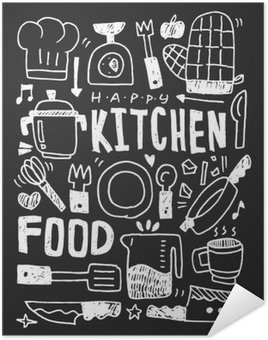 Pôster Pixerstick Cozinha elementos doodles mão linha traçada ícone, eps10