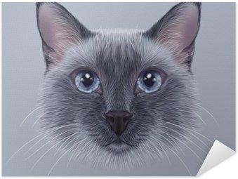 Pôster Pixerstick Ilustrativa Retrato de um gato tailandês. ponto azul do gato Siamese tradicional bonito.