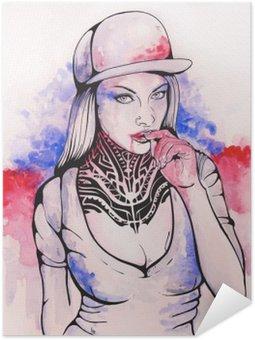 Pôster Pixerstick Menina em um tampão e tatuagens