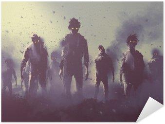 Pôster Pixerstick Multidão de zumbis andando à noite, conceito de Halloween, pintura ilustração