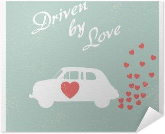 Pôster Pixerstick Vintage carro conduzido por amor design do cartão romântico para cartão do Valentim.