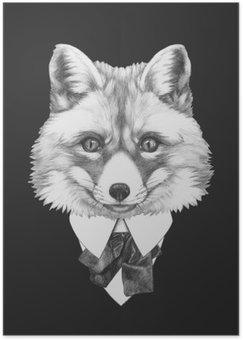 Póster Retrato do Fox no terno. Ilustração tirada mão.