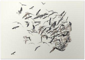 Póster Retrato dupla exposição de mulheres jovens e gaivotas.
