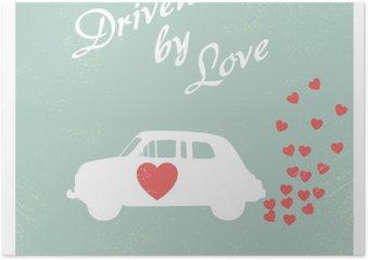 Póster Vintage carro conduzido por amor design do cartão romântico para cartão do Valentim.