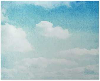 Póster Watercolor clouds and sky background