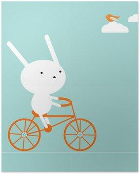 Poster Bir bisiklet tavşan
