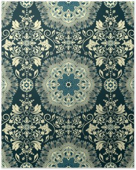 Poster Damask seamless pattern