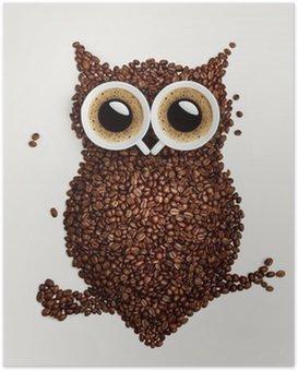 Poster Kahve baykuş.