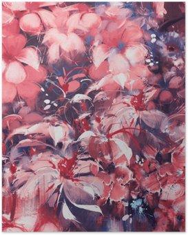 Poster Kesintisiz soyut çiçekler, petrol nefes nefese tarzı
