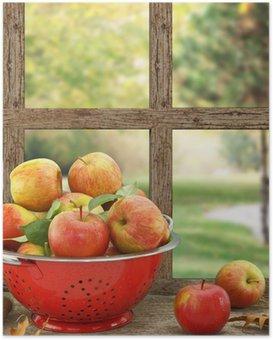 Poster Manzaralı ahşap pencere kevgir içinde elma
